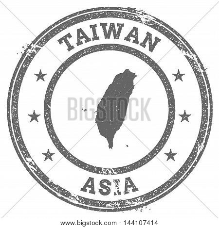 Taiwan, Republic Of China Grunge Rubber Stamp Map And Text. Round Textured Country Stamp With Map Ou