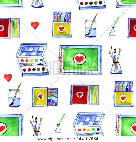 watercolor seamless background with drawing materials pattern