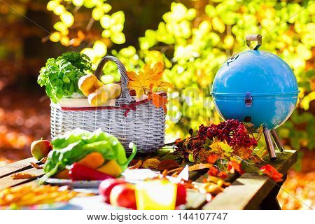 Table set for lunch outdoors in beautiful sunny autumn park. Charcoal grill and picnic basket with baguette bread sandwich fruit and vegetables. Cooking for bbq and grill party in fall.