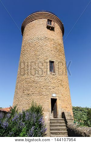 Tower in the village of Oingt in Beaujolais, France