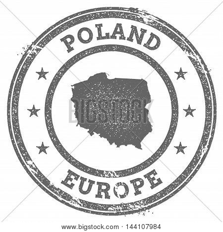 Poland Grunge Rubber Stamp Map And Text. Round Textured Country Stamp With Map Outline. Vector Illus