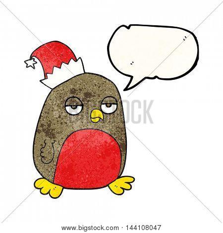 freehand speech bubble textured cartoon christmas robin wearing christmas hat