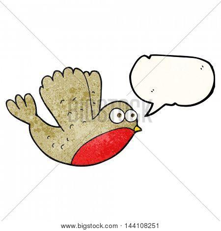 freehand speech bubble textured cartoon flying christmas robin