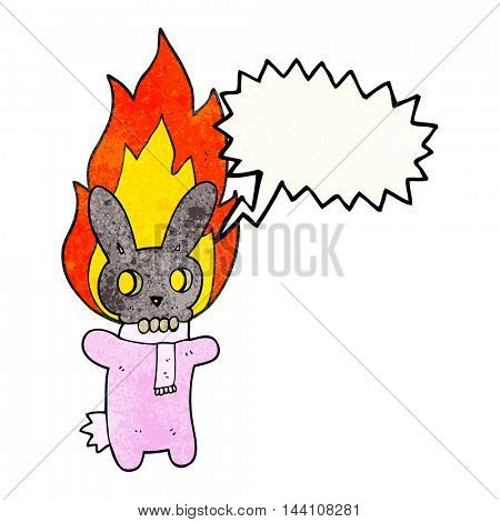 freehand speech bubble textured cartoon flaming skull rabbit