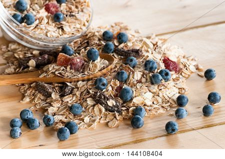 Serving Of Cereal In Bulk On Wooden Table