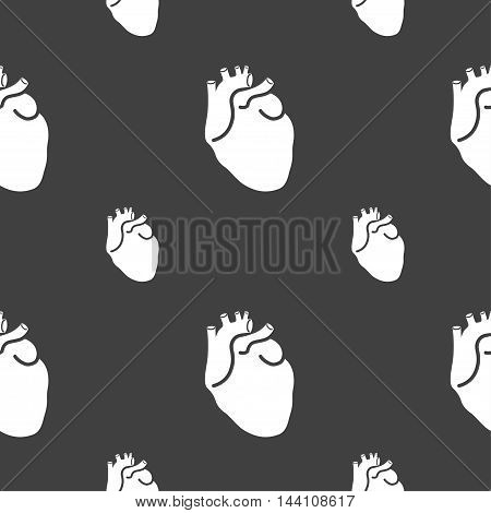 Human Heart Sign. Seamless Pattern On A Gray Background. Vector