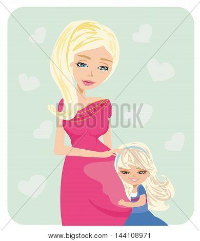 girl hugging pregnant mother's belly , vector illustration