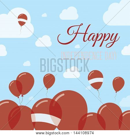 Latvia Independence Day Flat Patriotic Design. Latvian Flag Balloons. Happy National Day Vector Card