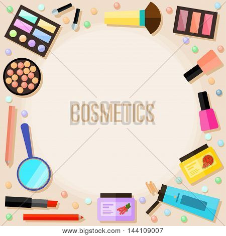 Bright cartoon cosmetic product isolated on beige. Cosmetic and beauty theme.