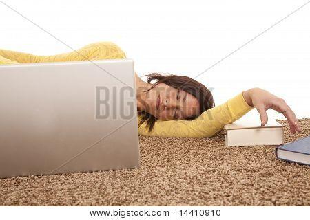 Woman Asleep Behind Computer