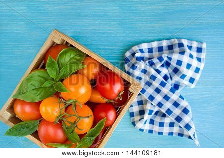 Red and yellow tomatoes and basil in box on a blue background. Top view with copy space.