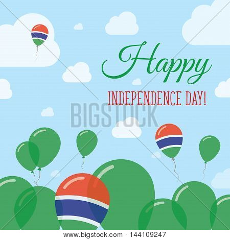 Gambia Independence Day Flat Patriotic Design. Gambian Flag Balloons. Happy National Day Vector Card