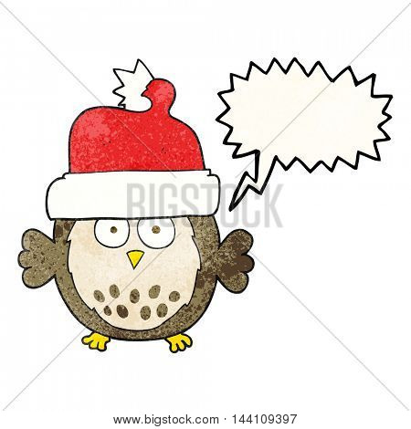 freehand speech bubble textured cartoon owl wearing christmas hat