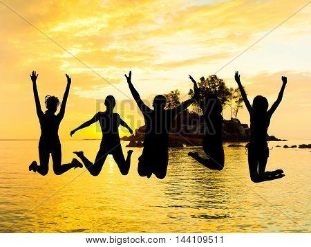 Friends Silhouettes Evening Celebration