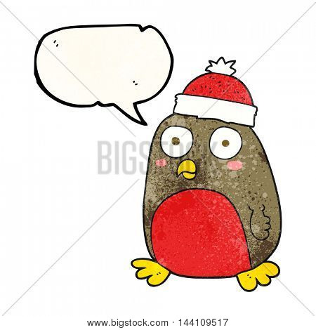 freehand speech bubble textured cartoon christmas robin