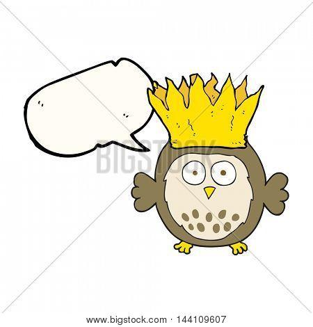 freehand drawn speech bubble cartoon owl wearing paper crown christmas hat