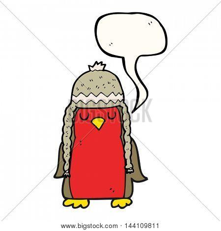 freehand drawn speech bubble cartoon robin wearing winter hat