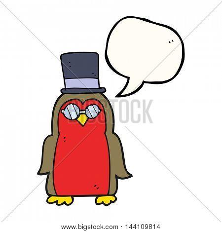 freehand drawn speech bubble cartoon robin