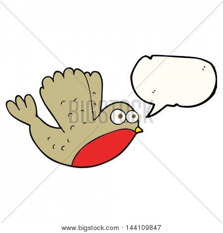 freehand drawn speech bubble cartoon flying christmas robin