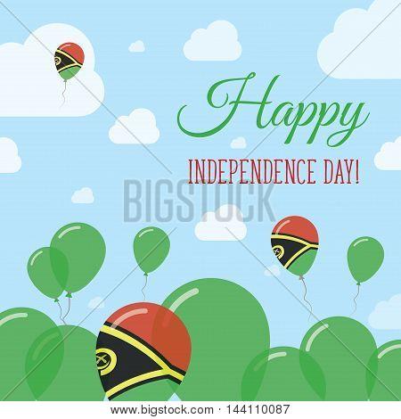 Vanuatu Independence Day Flat Patriotic Design. Ni-vanuatu Flag Balloons. Happy National Day Vector