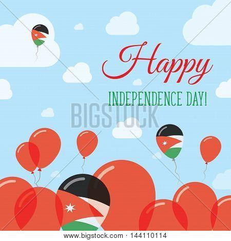 Jordan Independence Day Flat Patriotic Design. Jordanian Flag Balloons. Happy National Day Vector Ca