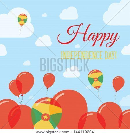 Grenada Independence Day Flat Patriotic Design. Grenadian Flag Balloons. Happy National Day Vector C