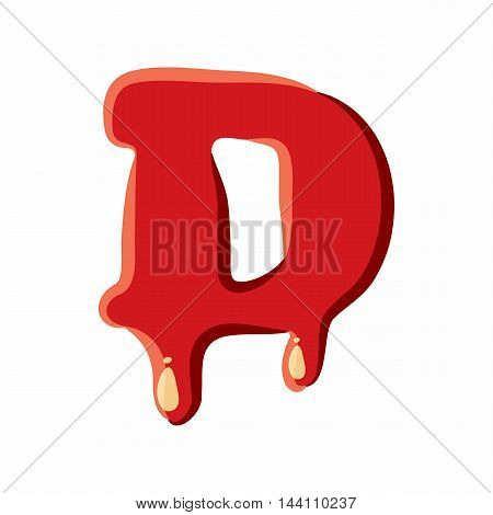 D letter isolated on white background. Red bloody D letter vector illustration
