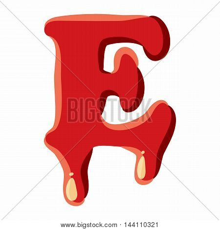 E letter isolated on white background. Red bloody E letter vector illustration