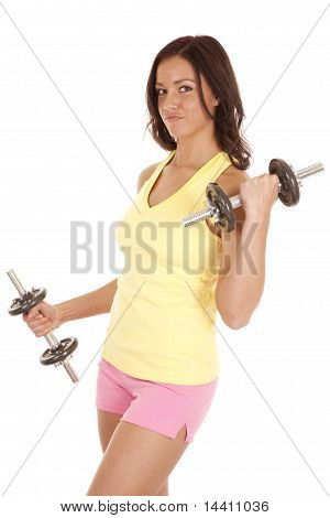 Woman Holding Weights With A Smug Look