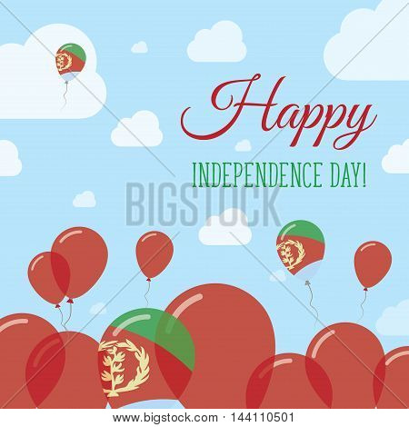 Eritrea Independence Day Flat Patriotic Design. Eritrean Flag Balloons. Happy National Day Vector Ca