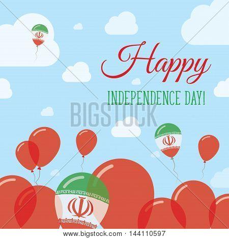 Iran, Islamic Republic Of Independence Day Flat Patriotic Design. Iranian Flag Balloons. Happy Natio