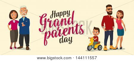 Happy family. Parents grandparents and child on a tricycle. Color flat vector illustration isolated on beige background. Hand drawn lettering.