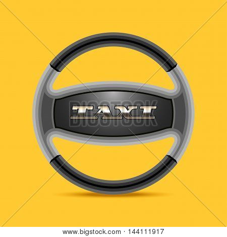 Taxi cab vector logo icon background. Car hire black and yellow badge app emblem. Steering wheel with sign taxi design element