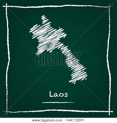 Lao People's Democratic Republic Outline Vector Map Hand Drawn With Chalk On A Green Blackboard. Cha