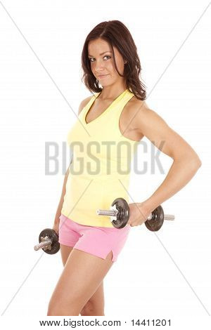 Woman Yellow Tank Top Hold Weights Out