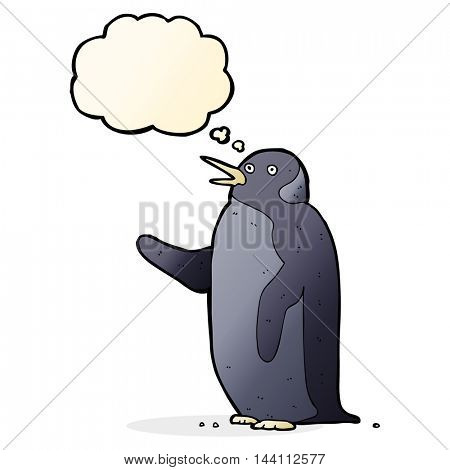 cartoon penguin waving with thought bubble