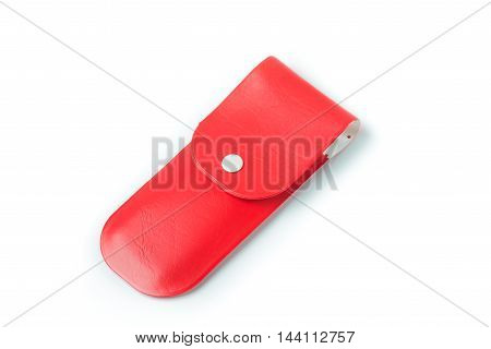 red pen case isolated on white background