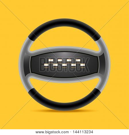 Taxi cab vector logo icon. Car hire black and yellow background badge app web emblem. Steering wheel design element