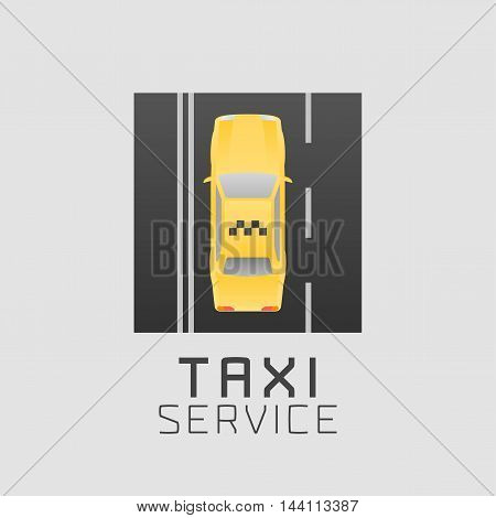Taxi cab car hire vector logo icon app emblem. Aerial view of yellow taxi on the road design element