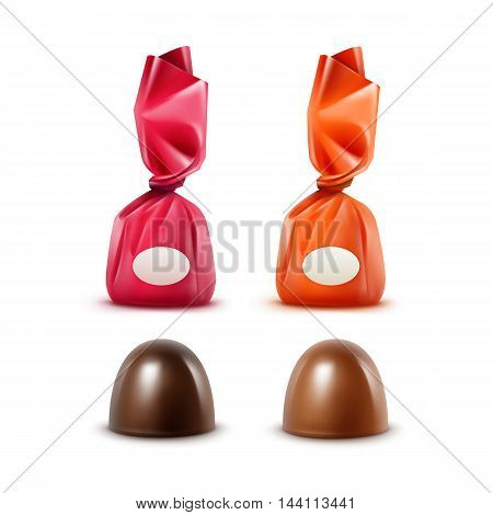 Vector Set of Realistic Dark Black Bitter Milk Chocolate Candies in  Colored Red Orange Dark Pink Glossy Foil Wrapper Close up Isolated on White Background