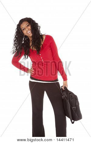 African American Woman Red Bag