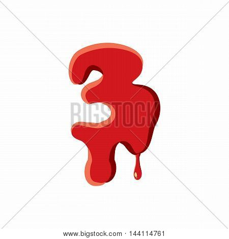 Three number isolated on white background. Red bloody three number vector illustration