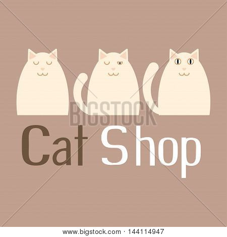 Cat sign for pet shop logo, store icons, funny kitty, vector illustration