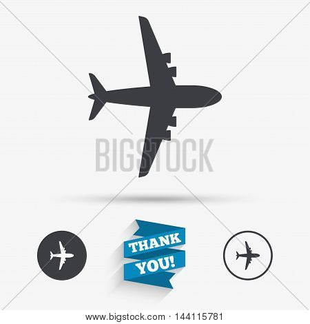 Airplane sign. Plane symbol. Travel icon. Flight flat label. Flat icons. Buttons with icons. Thank you ribbon. Vector