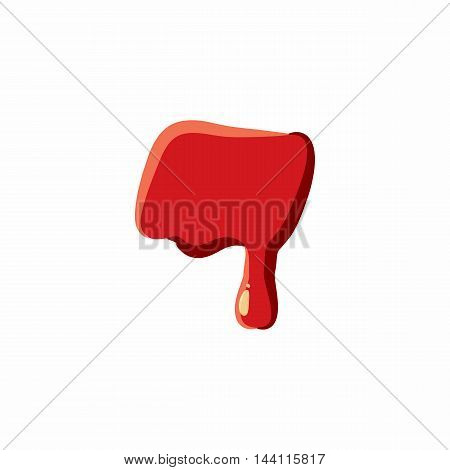 Dash punctuation mark isolated on white background. Red bloody vector illustration