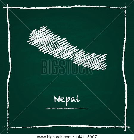 Nepal Outline Vector Map Hand Drawn With Chalk On A Green Blackboard. Chalkboard Scribble In Childis