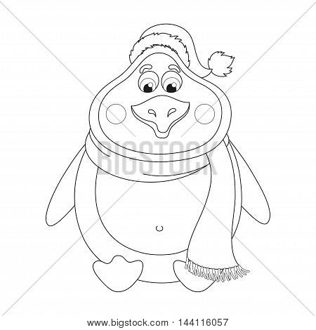New Year's cheerful cute penguin in winter hat and scarf sits, fat birdie has a rest, coloring book page for children, vector illustration