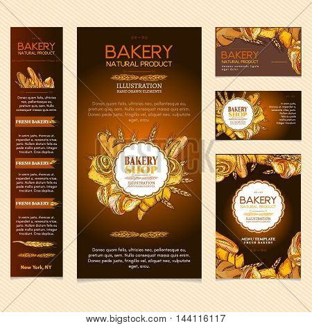 Bakery products restaurant menu page bakery template business card vector illustration