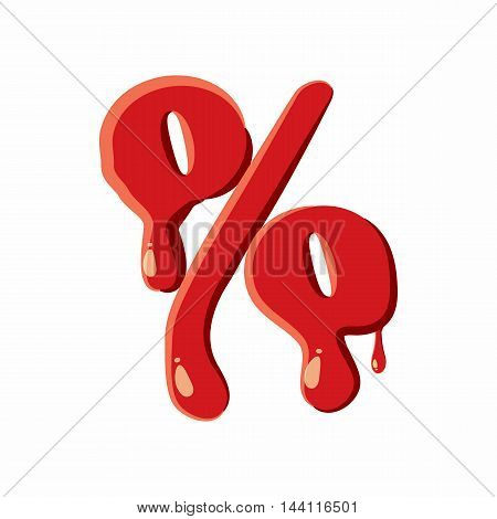 Percent sign isolated on white background. Red bloody percent sign vector illustration