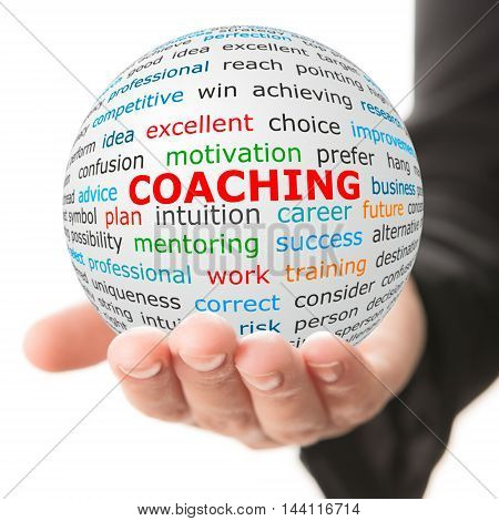 Coaching concept. Hand take white ball with wordcloud and coaching word in red color.